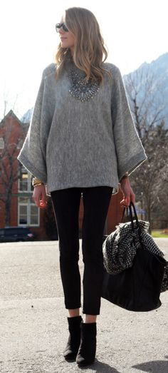 Fall Outfit // grey poncho sweater, black suede pants, black wedge booties, black & grey houndstooth scarf, black leather tote, silver statement necklace, layers