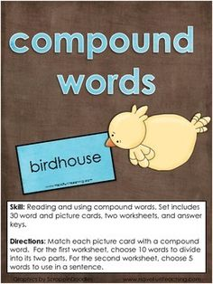 Free Compound Words Activity Center for Small Group Learning Centers.  Skill: Reading and using compound words. Set includes 30 word and picture cards, two worksheets, and answer keys.  Directions: Match each picture card with a compound word. For the first worksheet, choose 10 words to divide into its two parts.