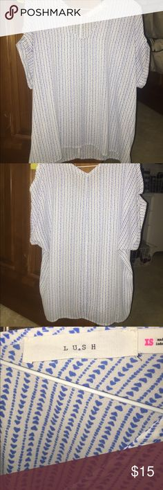 Off the shoulder pattern LUSH brand top never worn NEVER WORN patterned, off the shoulder top. The brand is LUSH. Size XS very flowly and you can wear it casual or dress it up. Perfect for spring and summer!! Lush Tops Tunics