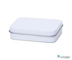 Caixa de metal branca. Totalmente personalizável.