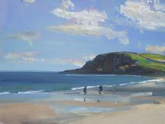 ARTFINDER: Pentewan Sands, Cornwall by Malcolm Ludvigsen - I painted this on Pentewan Sands in Cornwall last summer - a proper plein-air oil painting!  It is unframed but mounted.   I'm selling this painting unfra...