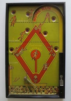 "Vintage Bagatelle Baseball Game Lindstrom's ""Home Run "" 1930s 