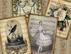 Enchanted Sonata / Vintage / Music ATC ACEO by MasterpieceDesigns, via Etsy.