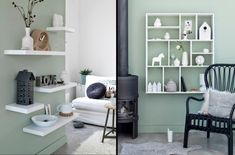 Charmant Wohnzimmer Streichen Ideen Salbeigrün Weiße Regale