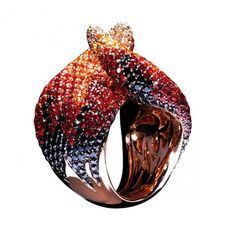 Palmiero- Fire ring in pink gold with black and white diamonds and sapphires
