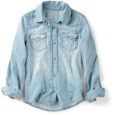 Denim Shirt With Roll-Up Sleeves ($5.99) ❤ liked on Polyvore featuring tops, shirts, blouses, long sleeves, girls, denim top, blue denim shirt, zara shirt, short shirts en long short sleeve shirts