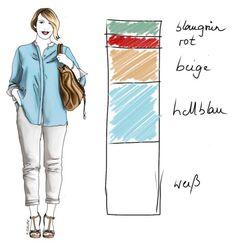Harmonie in der Mode - Teil 1: So kombinieren Sie Farben richtig; Beispiel: Das Farbspektrum von Cla besteht aus wärmeren, pudrigen Tönen, die durch kühle Farbnuancen aufgefrischt werden. Knallige Farbspritzer lenken den Blick und sorgen für interessante Zonen im Outfit.