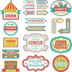 Buy Circus Vintage Signboard Labels Banner Vector by vectoristik on GraphicRiver. Circus vintage signboard labels banner vector illustration isolated on white entertaining banner sign . Carnival Signs, Carnival Themed Party, Carnival Birthday Parties, Circus Party, Circus Birthday, Circus Wedding, 30th Birthday, Circus Vintage, Vintage Carnival