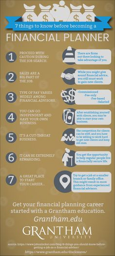 Be a step ahead of the game. Here are 7 things to know before becoming a financial planner. Learn more on the Grantham University website!