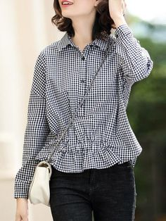Shop Blouses - Gathered Long Sleeve Casual Cotton Blouse online. Discover unique designers fashion at StyleWe.com.