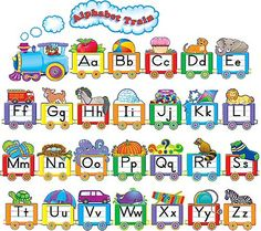 Teacher Created Resources - Alphabet Train Bulletin Board Set on sale now! Bulletin Board Sets, classroom decorations, and more. Alphabet Line, Alphabet Board, Alphabet Charts, Learning The Alphabet, Alphabet Activities, English Alphabet, Alphabet Letters, Preschool Activities, Train Bulletin Boards