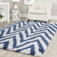 "Safavieh Shag Ivory/Blue Outdoor Area Rug Rug Size: Square 6'7"""