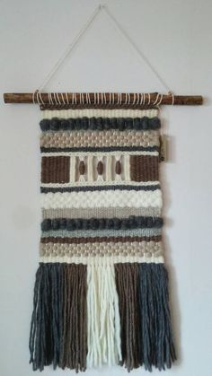 This item has been made with natural materials, wool, roving wool, cotton and wood. Width: 29 cm inch) Wood piece: 46 cm inch) It can be made to order. Weaving Textiles, Weaving Art, Tapestry Weaving, Hand Weaving, Woven Wall Hanging, Tapestry Wall Hanging, Wall Hangings, Handloom Weaving, Modern Tapestries