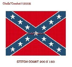 INSTANT DOWNLOAD Chella Crochet Confederate Rebel Flag Afghan Crochet Pattern Graph Chart .PDF