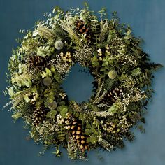 Winter Wreath - Eucalyptus and Fir Base With Artemisia, Tallow Berries, Pinecones and Thistle