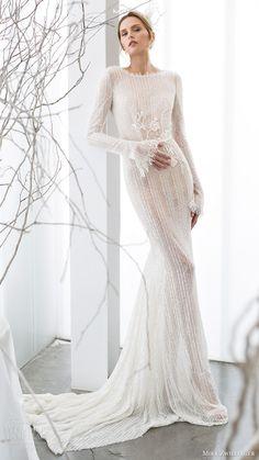 mira zwillinger bridal 2017 long sleeves jewel neck sheath wedding dress (elia) mv