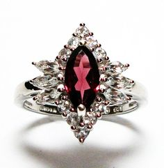 Garnet and white topaz accent marquise ring s 9  by Michaelangelas, $72.50