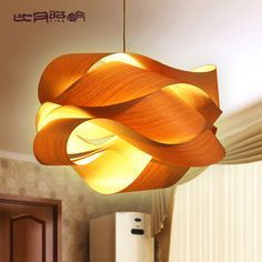 Chinese style wood Project light veneer lamps personalized pendant light southeast aisa american country lamp with LED bulb