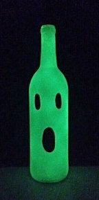 "Glow In The Dark Handpainted Ghost Wine Bottle Halloween Decoration Home Decor 11-12"""