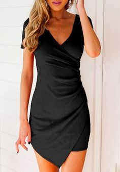 Black Plain Irregular Pleated V-neck Slim Mini Dress