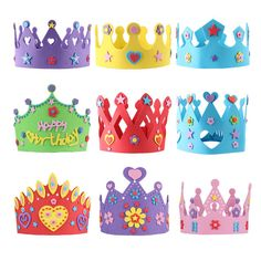 Quality DIY Kit Birthday Hat Parent-child Handmade Birthday Cap Kids EVA Props Creative Cartoon Imperial Crown Prince Princess Child Toy with free worldwide shipping on AliExpress Mobile Diy Birthday Kit, Preschool Crafts, Crafts For Kids, Ben E Holly, Diy Bags Patterns, Crown For Kids, Crown Template, Diy Crown, Kits For Kids