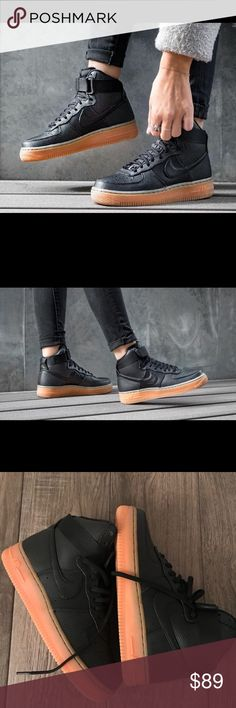 Women s Nike Air Force 1 Hi SE Black Size 7 Brand New With Box,Price is firm Leather upper Ankle strap  Air Force sole unit Gum outsole Nike Shoes Sneakers