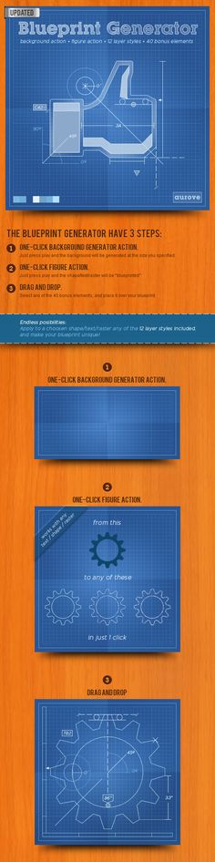 Buy Blueprint Generator: Action + Layer Styles + Pat by aurove on GraphicRiver. Blueprint Generator Action Overview: The fastest way to make your own blueprint background with one single click. Best Photoshop Actions, Cool Photoshop, Photoshop Tips, Sketch Photoshop, Creative Photoshop, Web Design, Tool Design, Graphic Design, Blueprint Art