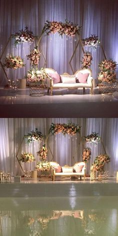 New decor wedding stage Ideas Wedding Stage Decorations, Wedding Backdrop Design, Desi Wedding Decor, Wedding Stage Design, Luxury Wedding Decor, Wedding Reception Backdrop, Wedding Mandap, Engagement Party Decorations, Backdrop Decorations