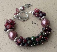 Купить Браслет Бордо - бордовый, браслет с турмалином, яркий браслет, браслет из камней, турмалиновый браслет