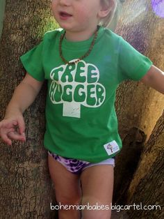 Size 2 Hand Printed Hippy TREE HUGGER Baby & Toddler T-Shirt ... Green ... More sizes available. $15.00, via Etsy.