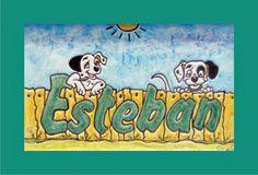 Cuadro niños de cerámica  con ilustración de perritos dalmatas  y nombre de niño Esteban. Decoración para la habitación de  bebés y niños. Marco de madera lacado en blanco.
