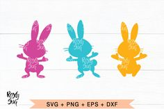 Easter Three Bunnies (Graphic) by · Creative Fabrica Svg Files For Cricut, Easter Crafts, Design Crafts, Easter Bunny, Wordpress Theme, Rabbit, Clip Art, Shapes, Bunnies