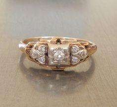 Art Deco Diamond Gold and Platinum Engagement by AntiqueSparkle