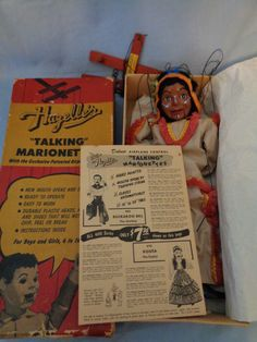 """418-Indian Chief """"Tenite"""" 1953.  I would love to have the marionette, because it is one of the few American Indians I don't have in my Hazelle's collection.  But I also don't have this product brochure.  Both on my WANT LIST."""