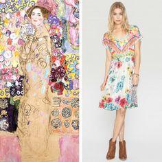"Johnny Was Printed Silk Nanette Dress // Gustav Klimt, ""Portrait of Maria Munk"" (Unfinished) // shades of pink, blue, green, yellow; floral motif"
