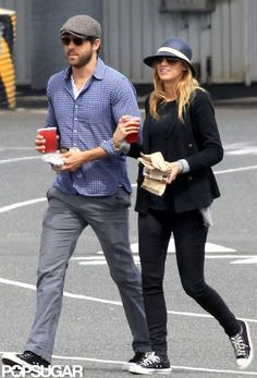 Blake Lively and Ryan Reynolds. Off duty casual at it's finest. Blake wearing all black + converse. Blake Lively Ryan Reynolds, Ryan Reynolds Style, Blake And Ryan, Blake Lively Family, Blake Lively Style, Stylish Couple, Black Converse, Mens Fashion, Fashion Outfits
