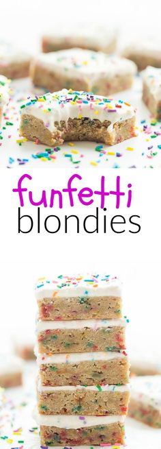 You Have Meals Poisoning More Normally Than You're Thinking That This Recipe For Frosted Funfetti Blondies Is A Keeper They Are Dense And Fudgy And Loaded With Sprinkles, Then Topped With A Creamy Buttercream Frosting Perfect For Birthdays Or Parties Best Dessert Recipes, Sweet Desserts, Delicious Desserts, Yummy Food, Tasty, Cake Frosting Recipe, Frosting Recipes, Buttercream Frosting, Brownie Recipes