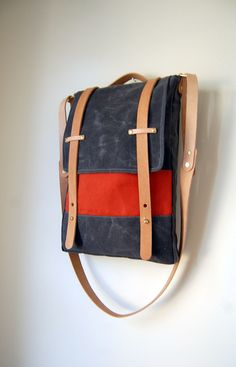 10c168545cf1 The Prickley Mountain Bag in Charcoal Waxed Canvas and Terra Cotta Canvas  Highlight