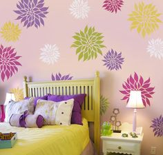 chloe's room    Flower Stencil Dahlia Grande SM - Reusable wall stencils better than wall decals. $16.95, via Etsy.