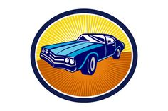 American Vintage Muscle Car Rear Ret - Illustrations - 1. Illustration of an american vintage muscle car set inside oval viewed from front on isolated background done in retro style. The zipped file includes editable vector EPS, hi-res JPG and PNG image. #illustration #AmericanVintageCar