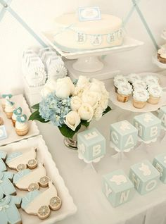 Boy Baby Shower Ideas - Blue #Baby Blocks