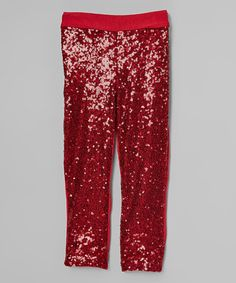 Look what I found on #zulily! Wine Red Sparkle Sequin Pants - Infant, Toddler & Girls #zulilyfinds