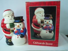 12 Retro Cookie Jar Santa & Snowman Extra Large Vintage by 2lewa