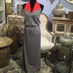 Mud Pie halter maxi dress This dress is beautiful and comfortable!  Black, red and white.  Elastic waist.  Polyester/spandex.  Worn once.  Excellent condition.   Size small.  Fits small/medium. Dresses Maxi