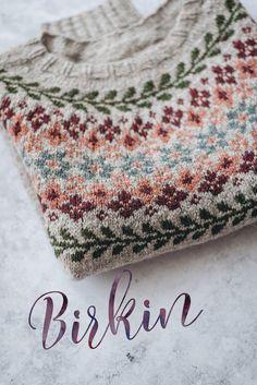The Birkin Sweater — Yellowish Tejido Fair Isle, Punto Fair Isle, Fair Isle Knitting Patterns, Crochet Patterns, Sweater Patterns, Fair Isle Pullover, Tricot Simple, Icelandic Sweaters, Birkin