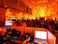 Vibrant orange wedding lighting by Love in the Mix, San Francisco Bay Area.