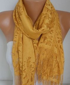 Mustard Tulle Scarf Spring Summer Scarf Mother's Day by fatwoman