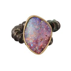 Katherine Jetter Boulder Opal ring set in 18K yellow gold mounted on a Han Dynasty bronze ring