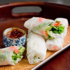Spring Rolls with Thai Dipping Sauce | 28 Vegetarian Recipes That Are Even Easier Than Getting Take-Out – More at http://www.GlobeTransformer.org