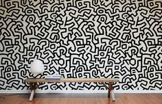 Self-adhesive, eco-friendly, and non-toxic Keith Haring wallpaper tiles. #pop #art #home  For j